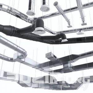 3D technical ceiling pipe 3 free download