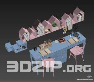 3d childroom Table + Chair Model 1 free download