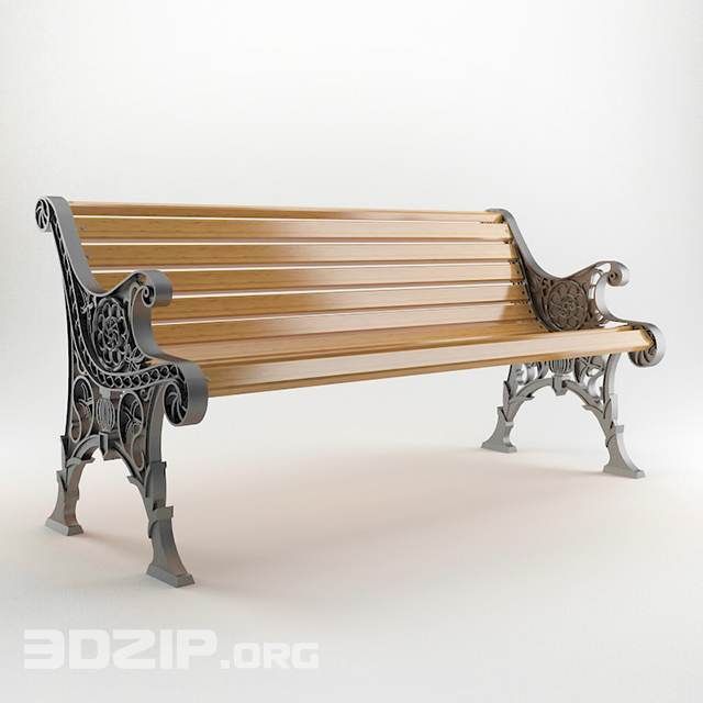 Park garden bench - 3Dzip ORG - 3D Model Free Download
