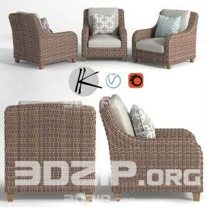 3d wicker armchair sofa model 43 free download