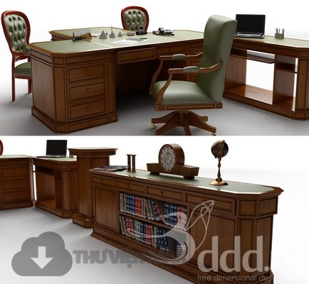 3D desks and chairs set 73 download