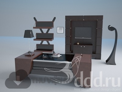 3D desks and chairs set 86 download