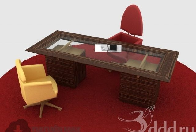 3D desks and chairs set 90 download