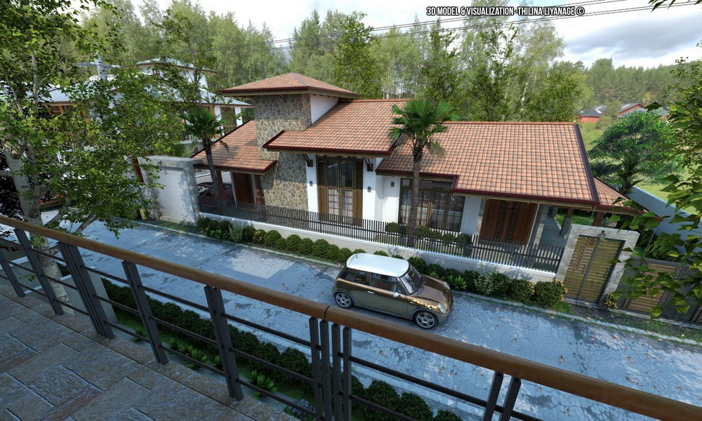 Exterior: 3D Scenes Sketchup SINGLE FAMILY HOUSE & VISOPT By Thilina