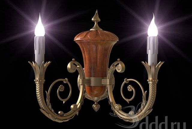 3D Model Sconce Classic Golden Free Download