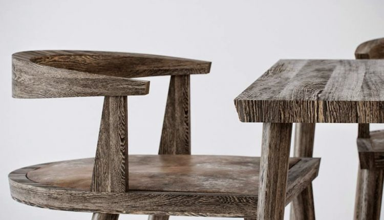 3D Model Wooden Chair and Table Free Download 1