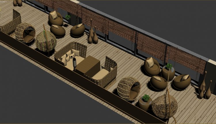 3D Model furniture made of rattan and bamboo free download (2)