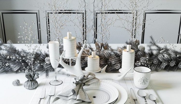 Free 3D Models Christmas Table setting Pottery Barn 5