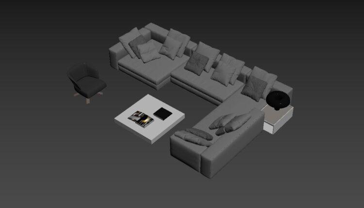 3D Model Set Sofa 175 Free Download (1)