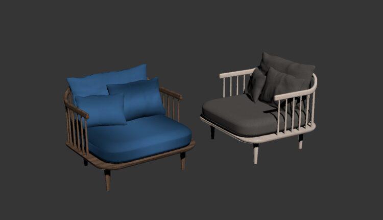 3D Model Armchair Free Download By NhatNamLeHoang (1)