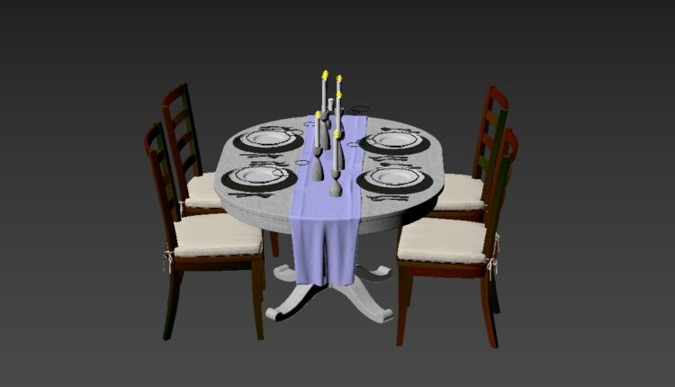 3D Model Dining Tables And Chairs 55 Free Download (1)