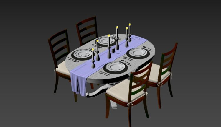 3D Model Dining Tables And Chairs 55 Free Download (2)