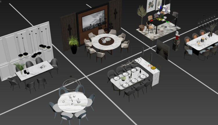3D Model Dining Tables And Chairs 4 Free Download By DoanNguyen