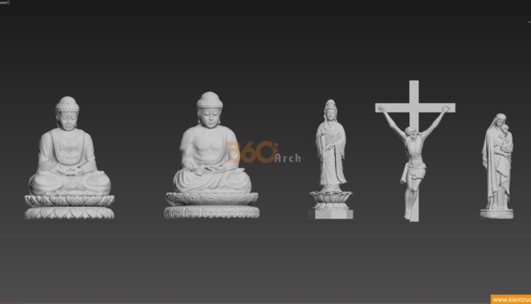 Thư viện 3d tượng Phật, bồ tát, đức mẹ, chúa jesus file max