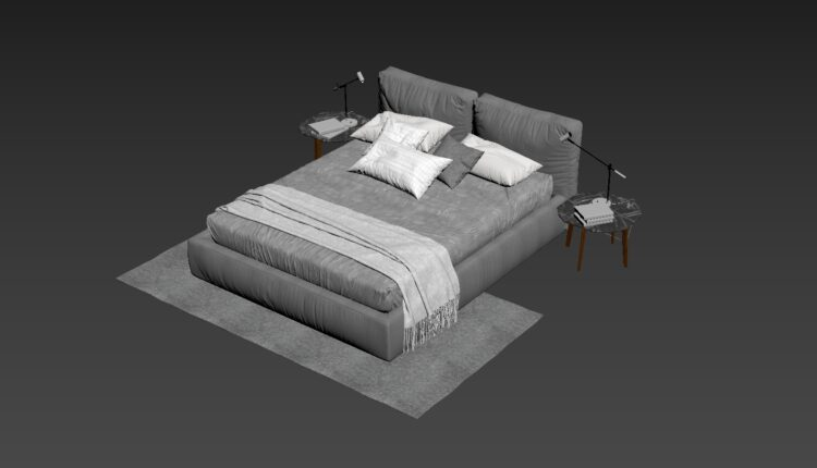 3D Bed Model 199 Free Download (1)