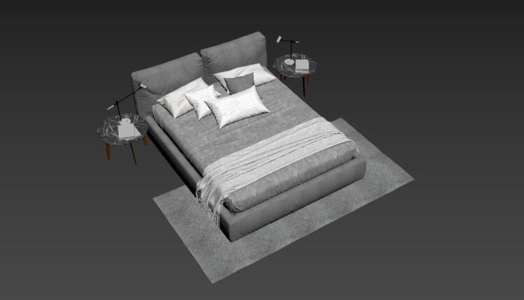 3D Bed Model 199 Free Download (2)