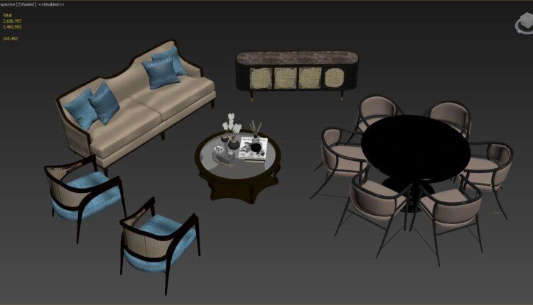 3D Model Indochine Furniture Set By D3 studio 1