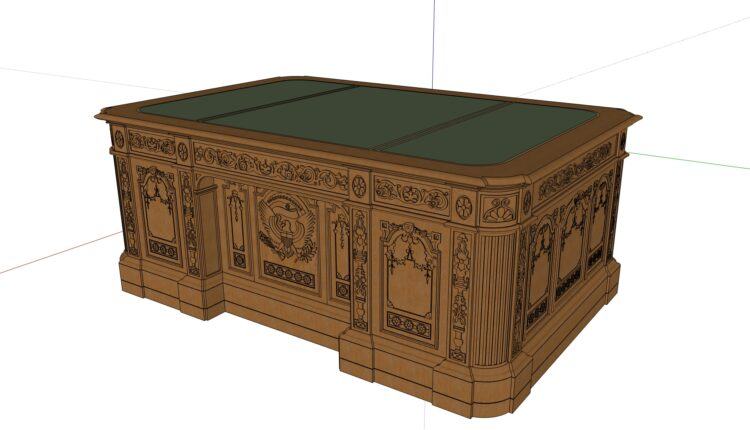 Free 3D Model White House presidential desk
