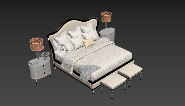 3D Set Bed Model 208 Free Download by Dinh Thanh (1)