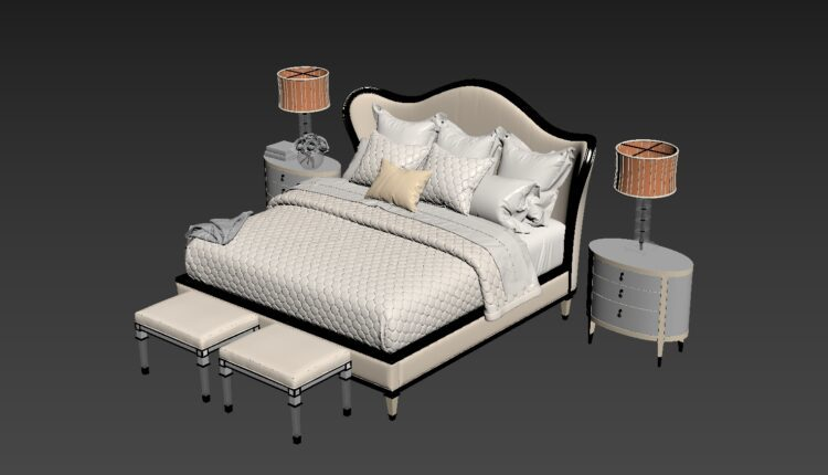3D Set Bed Model 208 Free Download by Dinh Thanh (2)