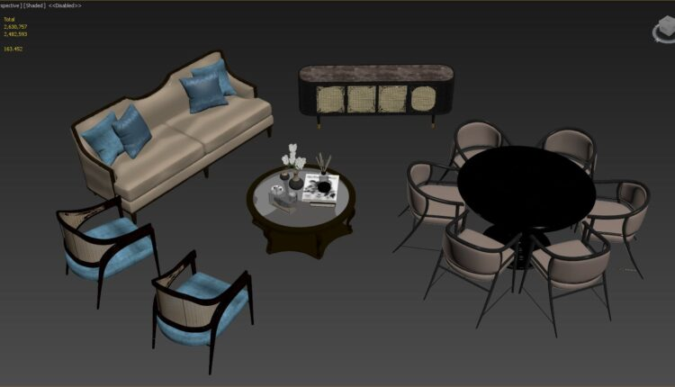 3D Model Indochine Furniture Set By DuongBui Free Download