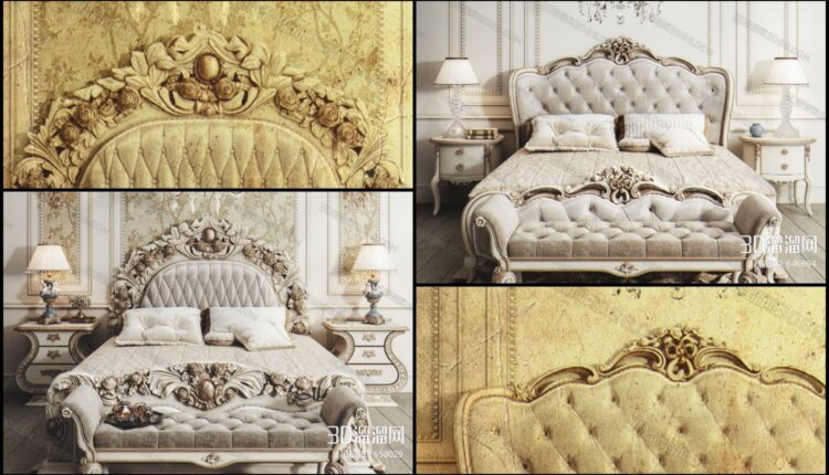 11046. 3D Neoclassical Bed Model For Free Download