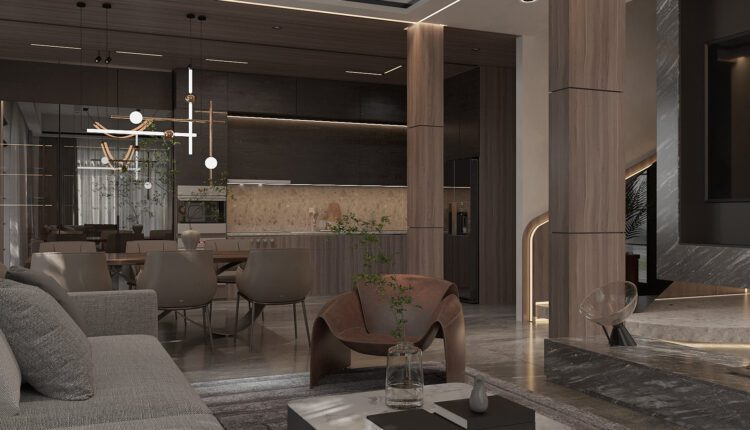 9686. 3D Interior Living Room – Kitchen Model Download by Dang Quynh